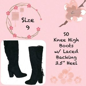 SO Brand Black Heeled Boots w/ Lacing on Back